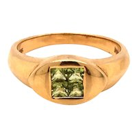 14K Yellow Gold Flushed Set Peridot Signet Ring