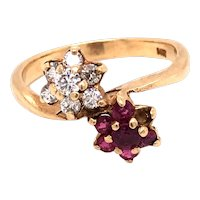 14K Yellow Gold Ruby Diamond Floral Ring