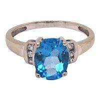 10K White Gold Blue Topaz Ring