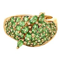 14K Yellow Gold Marquise and Round-cut Peridot Ring