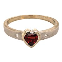 10K White Gold Bezel-Set Diamond Garnet Heart Ring