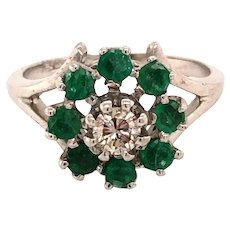 14K White Gold Diamond Emerald Halo Ring