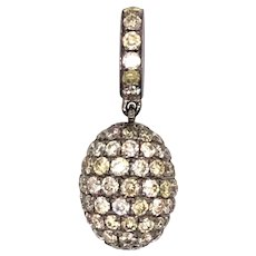 18K Gold Black Rhodium Plated Yellow Diamond Pendant