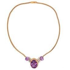 18K Yellow Gold Amethyst Diamond Necklace