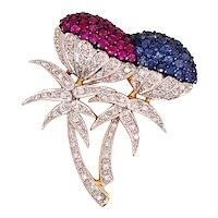 18K Yellow Gold Diamond Ruby Sapphire Flower Brooch