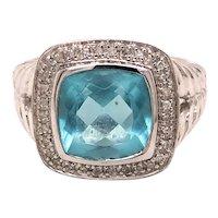 14K White Gold Cushion-Cut Blue Topaz Diamond Ring