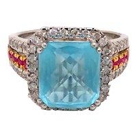 14K White Gold Blue Topaz Ruby Diamond Ring
