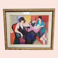 "Itzchak Tarkay ""Maria and Susie"" Framed Serigraph"