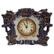Antique Cobalt Blue Porcelain Ansonia Mantel Clock