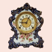 Antique Cobalt Blue Porcelain Gilbert Mantel Clock