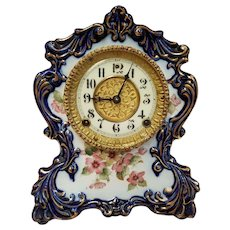 Antique Cobalt Blue Porcelain Gilbert Mantel Clock