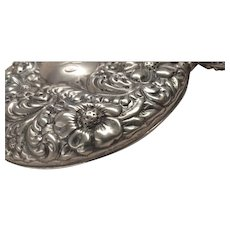 Traditional Silver Loop Handled Hand Mirror with floral