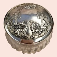 Vintage Sterling Silver Lidded Cut Glass Powder Jar