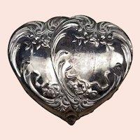 Silverplate Velvet Lined Heart Shaped Box