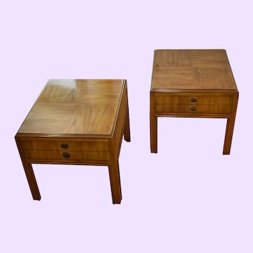 1980s Vintage Drexel Heritage Campaign Accolade Nightstands - a Pair