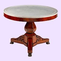 19th Century French King Louis Philippe I Marble Top Guéridon Center Table