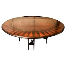 "Modern Art Deco Styled Mahogany ""Solar Flare"" Inlaid Round Dining Table"