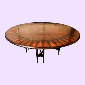 "Modern Art Deco Styled Mahogany ""Solar Flare"" Inlaid Round Dining Table"