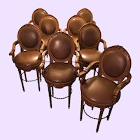 """1990s Tommy Bahama Home Vintage Italian Leather """"Dragonfly"""" Swivel Bar Counter Stools - Set of 8"""