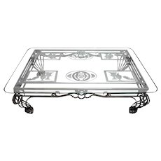 1970s French Directoire Style Large Etched Steel and Glass Coffee Table
