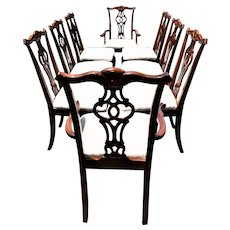 19th Century Antique Chippendale Carved Mahogany Dining Chairs - Set of 8