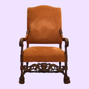 Early 19th Century Antique Louis XIII Style Carved Oak Fauteuil Armchair Throne