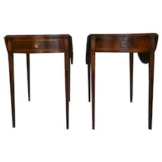 Antique Pembroke Mahogany Drop Leaf Brass Drawer End Tables - a Pair