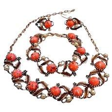 Vintage 50s Lucite Cabochon Costume Jewelry Parure Set