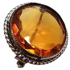 Antique Edwardian Citrine Paste Round Brooch Pin