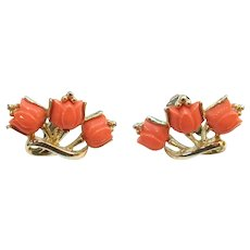 Vintage Coro Lily of the Valley Coral Lucite Clip on Earrings