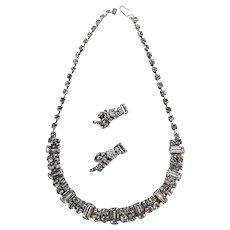 Vintage Mid Century Rhinestone Baguette Choker Necklace & Earrings Demi Parure