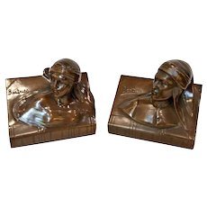 Vintage 1935 Jennings Brothers Dante & Beatrice Bronze Bookends