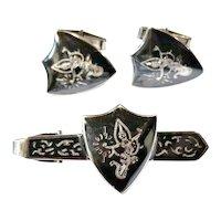 Vintage Mid Century Siam Sterling Cuff Links & Tie Clasp