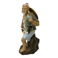 Vintage Chinese Mudman Asian Fisherman Pottery Figurine