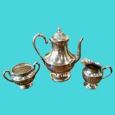 Rare Vintage Art Deco Lehman Bros Silverplate Coffee Service 3 Pcs