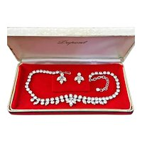 Vintage Mid Century Rhodium Plated Rhinestone Demi Parure Costume Jewelry in Orig Box