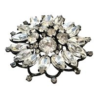 Vintage Signed Weiss Rhinestone Japanned Costume Jewelry Brooch