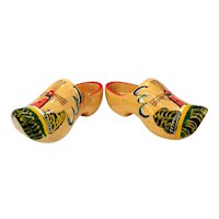 Vintage Mid Century Hand Painted Wooden Clogs - Holland