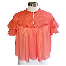 Vintage 50's Coral Vanity Fair Sheer Nylon Bed Jacket Lingerie