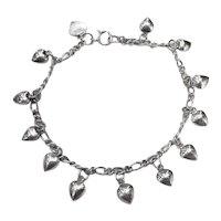 Vintage Sterling Silver Hearts Charm Bracelet Jewelry