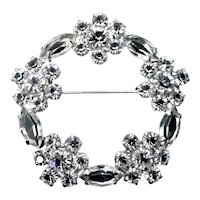 Vintage Sterling Silver & Rhinestone Floral Wreath Brooch Jewelry