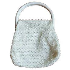 Vintage 50's White Lucite Dotted Snap Frame Handbag Purse