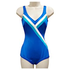 LOUISA BROOKS Vintage 1960's 1970's Royal Blue & Aqua Swimsuit