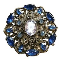 Vintage Blue Rhinestone Pot Metal Brooch 40's 50's Costume Jewelry