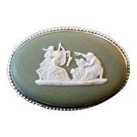 Vintage 70s Wedgwood Green Jasperware Sterling Silver Cameo Brooch/Pin - England