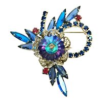 Vintage Mid Century D&E Juliana Rhinestone Brooch in Blue Violet Aqua Red