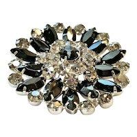 Vintage Mid Century Black & Grey Marquise Rhinestone Brooch Jewelry