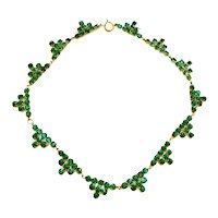 Vintage Art Deco 1920's Green Rhinestone Necklace Geometric Pyramid Costume Jewelry