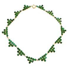 Vintage Art Deco 1920's Green Rhinestone Necklace Geometric Pyramid Costume Jewelry
