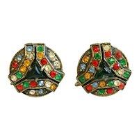 Vintage Art Deco Geometric Rhinestone Peking Glass Pot Metal Earrings Jewelry